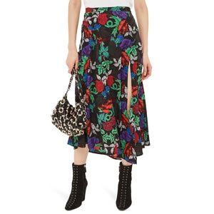 TOPSHOP Raven Floral Front Slit Midi Skirt